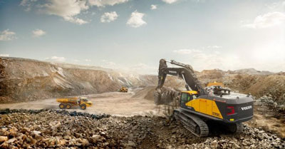Volvo Brochure EC950E Excavator Presentation and Features including Specifications and/or Options. Photographed in Seoul, South Korea. Shanghai photographer with studio creates automotive and construction equipment imagery for advertising and marketing materials.