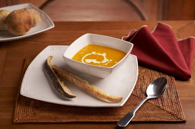Hospitality food photography for Paul's Bakery, pumpkin soup, in Shanghai, China. Shanghai photographer with studio creates hospitality hotel, food and travel photography for advertising and marketing materials.